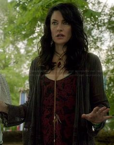 Wendy's red and black patterned top and lace trim cardigan on Witches of East End.  Outfit Details: http://wornontv.net/34818/ #WitchesofEastEnd