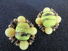 Unique Vintage Earrings, Bumble Bee Bead Earrings, Yellow Black Earrings, 1930 1940, Venetian Glass Bead Earrings, Free US Shipping - pinned by pin4etsy.com