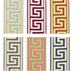 I'm loving the use of Greek key trim on roman shades, drapes, and headboards. In some cases, a wide, flat trim is applied in a pattern that. Decor, Carpet Runner, How To Clean Carpet, Mozaic, Curtain Trim, Greek Key Pattern, Cheap Carpet Runners, Trim, Persian Carpet