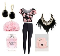 """""""Girly girl"""" by officainstacute on Polyvore featuring H&M, Betsey Johnson, Victoria's Secret, Effy Jewelry, WithChic, women's clothing, women's fashion, women, female and woman"""