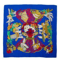 "Vintage Hermes Blue and Gold  Silk Scarf ""Chapeau"" by Annie Faivre"