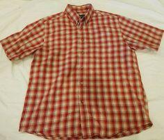 Eddie Bauer medium M Mens Short Sleeve relaxed Fit Button Down Shirt orange red #EddieBauer #ButtonFront
