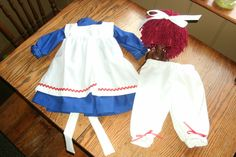 Raggedy Ann  Costume Baby or Toddler with yarn wig hair.