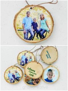 Christmas Craft Tutorial: Rustic Wood Slice Ornaments : Make rustic Christmas Wood Slice Ornaments with Family Photos Family Christmas Ornaments, Rustic Christmas, Simple Christmas, Christmas Photos, Kids Christmas, Christmas Crafts, Foto Gift, Diy Holiday Gifts, Diy Gifts