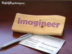 Imagineer, Disney Inspired, Magic Words, Desk/Shelf décor, Desk Sign, Carved Wood, by The Jolly Geppetto