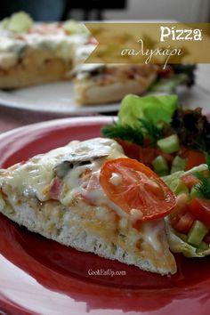 Φουσκωτή και ζουμπουρλίδικη... Cookbook Recipes, My Recipes, Cooking Recipes, Appetizers, Pizza, Chicken, Meat, Breakfast, Food