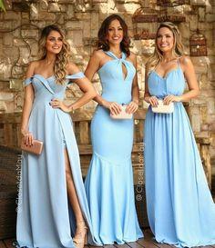 Damas de honra azul serenity #azul #azulserenity #serenity #blue #damas #damadehonra #bridesmaid #madrinha #casamento #wedding #blogsnc Gala Dresses, Spring Dresses, Blue Dresses, Chiffon Dress, I Dress, Party Dress, Elegant Dresses, Beautiful Dresses, Formal Dresses