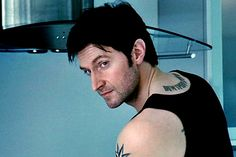 Richard Armitage in Spooks, playing Lucas North who actually isn't Lucas North. *spoilers* (It amuses me that they probably had to draw all those tattoos on with a sharpie every time he had a topless scene! Richard Armitage, Vicar Of Dibley, John Thornton, Thorin Oakenshield, Gray Eyes, Blue Eyes, British Actors, British Men, Human Soul