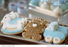 Decorated cookies for boys baby shower | Photographer: Nisha Ravji, Coordinating: White Door Events
