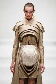 sculptural trench coat, pod dress with 3D layered construction; experimental fashion design // Tokyo New Designer Fashion Grand Prix