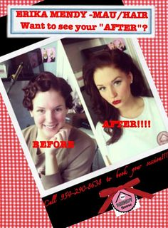 Pinup makeup. Before and after #makeup #pinup #makeover www.themendyhouse.com