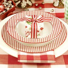 red & white with gingham and stripes