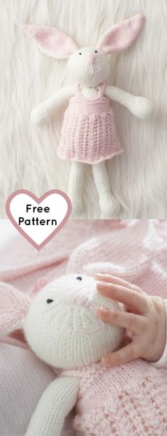 Free knitting pattern for a bunny rabbit, great free Easter knit pattern. This makes a great gift for a baby shower too! Baby Knitting Patterns, Unicorn Knitting Pattern, Free Knitting, Knitting Toys, Free Rabbits, Bunny Rabbits, Knitted Animals, Baby Shower, Stuffed Toys Patterns