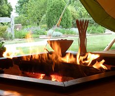 Blazing fire inside one of our stunning tipis