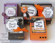 Inspired by Stamping, Kendra Sand, Halloween Labels stamp set, Halloween Tags stamp set, Halloween hand sanitizer packages, Halloween ideas