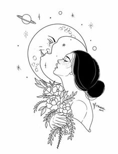 There was a reason she was so romantic about the moon. It never asked her questions or begged for the answers nor did she ever have to prove herself to it. It was always just there – breathing, shining and in most ways humans can't understand: listening. Cool Art Drawings, Pencil Art Drawings, Art Drawings Sketches, Easy Drawings, Tattoo Drawings, Tattoo Sketches, Drawing Ideas, Moon Drawing, Arte Sketchbook