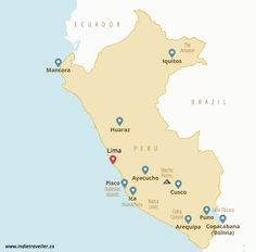 Peru backpacking map, a good summary of what to do, where to stay