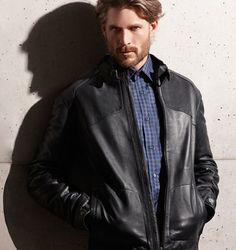 Weekend casual. #Leather #Jacket #Menswear #Luxury #DressShirt #Shirt #BugatchiMan