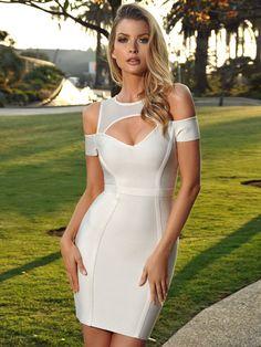c4c7f861d5567a Megan Sheer Mesh Cut Out Shoulder White Bandage Dress