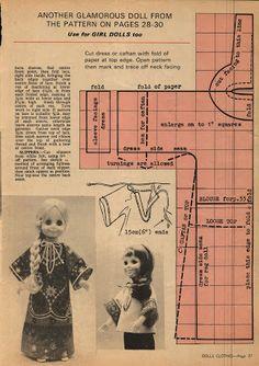 Album Archive - One Hour Dress - Barbie Patterns, Doll Clothes Patterns, Clothing Patterns, Sewing Patterns, Doll Crafts, Diy Doll, Ag Dolls, Girl Dolls, 1970s Dolls