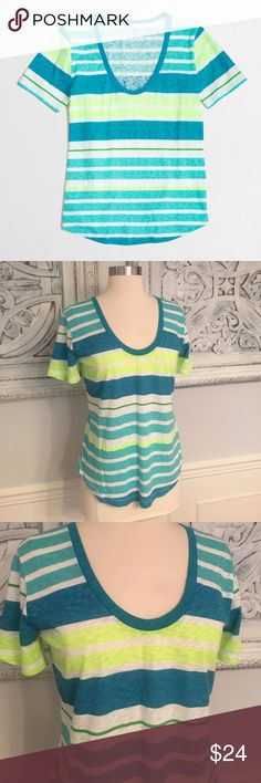 NWT! J.Crew triple striped sketched cotton tee! NWT! J.crew triple- striped sketched cotton tee shirt. Super cute neon stripes. Flattering scoop neckline. Size small. 60% cotton 40% polyester. So cute for the spring and summer! Smoke free clean home. Any questions lmk! J. Crew Tops Tees - Short Sleeve