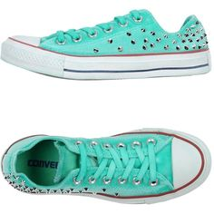 Converse Sneakers ($222) ❤ liked on Polyvore featuring shoes, sneakers, green, converse shoes, studded shoes, round cap, converse trainers and green flat shoes