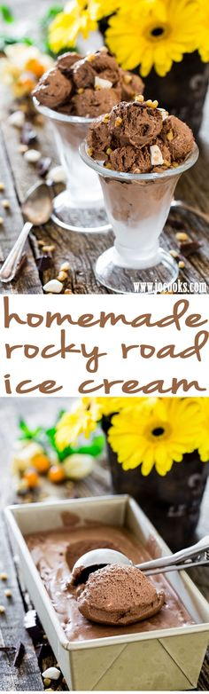 Homemade Rocky Road Ice Cream - can't go through summer without enjoying some homemade ice cream. This Rocky Road ice cream is rich, creamy and delicious, the perfect summer treat.