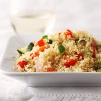Whole wheat couscous and vegetables make this high-fiber side dish perfect for a heart-healthy meal plan.