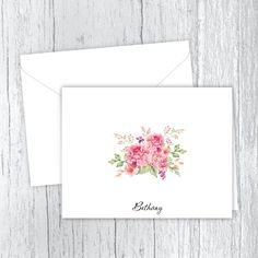 Pink Peonies Bouquet Personalized Note Cards Peonies Bouquet, Pink Peonies, Small Letters, Personalized Note Cards, White Envelopes, Card Stock, Birthday Gifts, Great Gifts, Notes