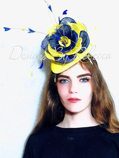 Beautiful and unique bright yellow and navy rose fascinator named