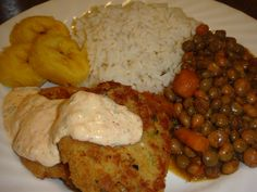 Rice, Stewed Pigeon Peas, Boiled Plantain and Crab Cakes with Red Pepper Mayo dip