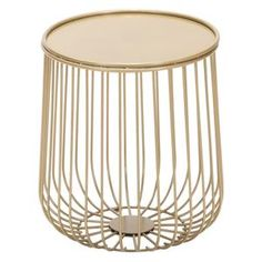 This open wire side table in gold will add glamour to any outdoor setting. Perfect size to perch a cocktail or a good read. Its solid round rimmed top keeps it all together. Built to weather the elements, this table will look great for years to come. Metal Outdoor Side Table, Wire Side Table, Outdoor End Tables, Modern Side Table, Outdoor Spaces, Indoor Outdoor, Modern Outdoor Furniture, Pool Furniture, City Furniture