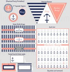 Printable Party Package, Nautical Stripes and Anchor featuring navy blue and coral. $25.00, Etsy.
