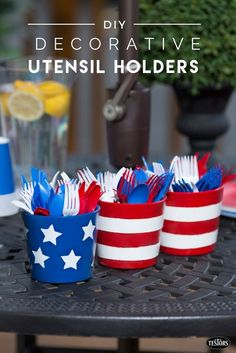 Turn simple terracotta flower pots into decorative utensil holders for your next outdoor party, backyard BBQ, cook-out, block party or picnic.  With red, white and blue Testors enamel paints and some stars and stripes and stencils, you can have your party decor and storage star-spangled just in time for 4th of July, Labor Day, Memorial Day or summer party. Get the free DIY plans and step by step instructions at testors.com