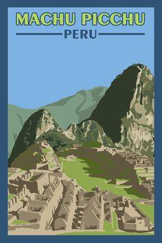 Machu Picchu Peru - Vintage Travel Poster