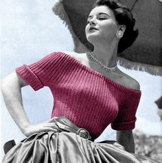Vintage Vogue Knitting Pattern 1950s Off Shoulder Sweater Pin Up Digital Download PDF