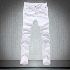 Cheap Ripped Jeans, Ripped Jeans Style, Mens Casual Jeans, Ripped Skinny Jeans, Casual Pants, Mens Skinny Trousers, White Trousers, Slim Pants, Denim Jeans