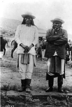 Chief Naiche and his War Chief,Geronimo (l. to r.) in captivity at Fort Bowie, Sept. 7, 1886. Picture taken by Frank Randall........ Cheyenne Kane