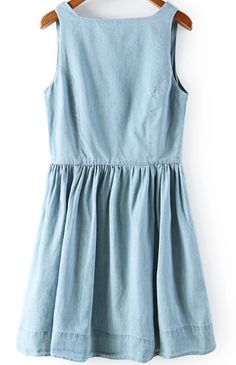 Blue V Neck Sleeveless Buttons Denim Dress