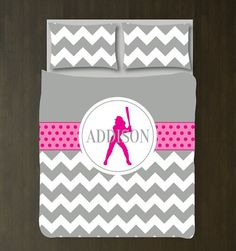 Softball Duvet Cover w/Shams-Monogrammed Name-Custom Bedding Set-Grey-Hot Pink-White-Chevron-ANY Colors-Twin/Twin XL-Full/Queen-King-Size