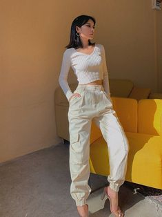 """Style: Casual   Length: Ankle-Length Pants   Fit Type: REGULAR   Material: Polyester   Pant Style: Cargo Pants  Waist Type: High    S — Waist 24"""", Hips 34""""   M —Waist 25"""", Hips 36""""   L — Waist 26"""" Hips 37"""" Cargo Pants Outfit, White Pants Outfit, Cargo Pants Women, Trouser Outfits, Baggy Cargo Pants, White Cargo Pants, Parachute Pants Outfit, Denim Joggers Outfit, Women's Pants"""