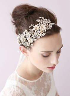 Golden blossom and crystal burst headband - Style # 418 (2014, hair adornments, hair vines, headbands, headpieces, made to order, twigs and honey, view all) | Headpieces | Twigs Honey ®, LLC