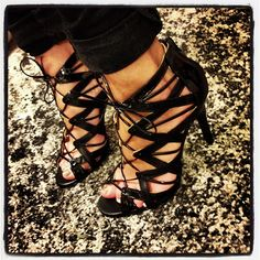 Prabal Gurung for Target Strappy Black Lace Up Sandals #shoes