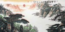 Huge Promotion, Free Shipping, Ready to Hang! Contemporary / Modern, Original, Sunrise of Mountain Tai, Chinese Watercolor Brush Painting By Renowned Artist Mengshen Lu, Huge / Extra Large 26x53, Handmade, Signed, with Certificate of Authenticity, Museum Quality, Collection Purpose, Flattened, Matted with Silk Brocade, Framed