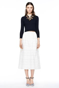 J.Crew women's spring/summer '14 / solid shin-grazing skirt + solid stretchy, fitted 3/4 sleeve shirt + statement necklace