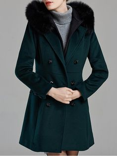 Shop Fur and Shearling Coats - Dark Green Hoodie Wool Blend Symmetric Casual Fur And Shearling Coat online. Discover unique designers fashion at StyleWe.com.