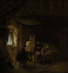 """Adriaen van Ostade in het Rijksmuseum - This painter is hardly rich: his workshop is located in an old, dark building. His artistic ambitions are not high, for on the easel is a…"""" Rembrandt, Dresden, Painters Studio, Painter Artist, Painting Workshop, Poster Prints, Art Prints, Historical Art, Art For Art Sake"""