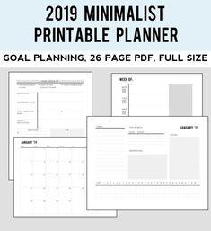 2019 Minimalist Printable Planner School Planner, Goals Planner, Monthly Planner, Happy Planner, Planner Layout, Planner Template, Printable Planner, Free Printables, Planner Inserts