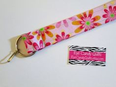 Mother's Day gift, Floral Wristlet, Keychain, Lanyard, Fabric Lanyard, Short Lanyard, Flower Keychain, Key ring, ID badge lanyard, Bright colored floral Wristlet by EyeCandyQuilts, $6.00