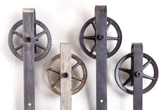 Spoked Industrial Sliding Barn Door Hardware Set
